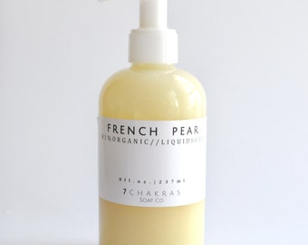 Organic Castile Liquid Soap, French Pear, Hand Soap, Body Wash