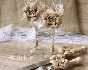 Burlap Flowers Wedding Set, Rustic Toasting Flutes & Cake Cutting Set, Bride and Groom Wedding Set, Burlap Rustic Glasses and Cake Servers