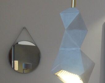 handmade origami leuchte⎪geometrische pendelleuchte⎪graue LED hängelampe⎪deckenleuchte from stein⎪origami skulptur⎪papierleuchte⎪unikat
