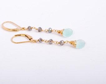 Long Skinny Earrings, Long Gold Earrings, Long Gemstone Earrings, 14K Gold Jewelry, Summer Earrings, Beach Jewelry, Fine Jewelry, Gold