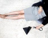 JACKIE Black Leather Clutch with Wrist Strap. Triangle Clutch. Triangle shape pouch