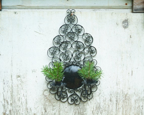 Vintage Wrought Iron Wall Sconce Black Candle By