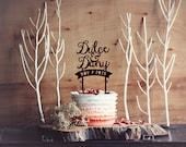Customised Wedding Cake Topper - Personalised names Forest rustic enchanted woodland wedding