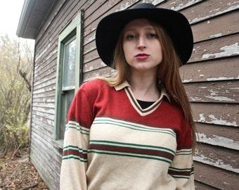 70s Skinny Rocker BOYFRIEND SWEATER JC Penny Vintage V Neck Knit Groovy Mod Mens or Women Striped long sleeve Collar Point Pullover Top S/M