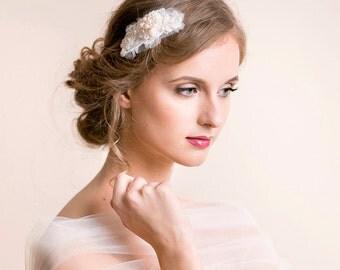 Wedding Hairpiece Rhinestone Lace Pearl- Bridal Hairpiece - Wedding Hair Comb - Bridal Hair Comb - Embroidered Hairpiece Heirloom - Ivory