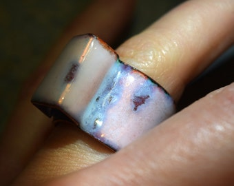 White Opal Enamel on Copper Ring, High temperature Oxidized