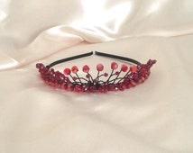 Goth style Tiara Rock chick Tiara Red Tiara Glass beads Red beads Punk style tiara Gothic Rock chick Punk rock Bridal wear