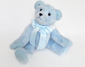 "Marlow- OOAK Plush Artist Teddy Bear, stuffed teddy bear, 11"" jointed blue bear, blue teddy bear, stuffed bear doll, stuffed animal plushie"