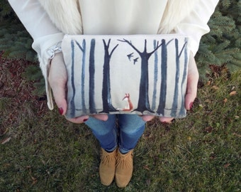 Fox in the Forest Hand Painted Clutch Bag--Painted Clutch--Fox Bag--Made to Order