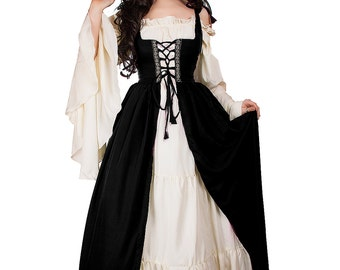 Renaissance Medieval Irish Costume Black  Over Dress Fitted Bodice S/M