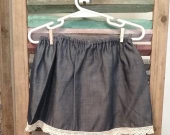 Girls Denim skirt, Girls denim and lace skirt,  Size 2 skirt, toddler skirt, Toddler clothing, #38