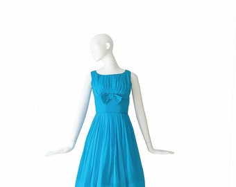 1950s Party Dress XS S • 50s Silk Cocktail Dress  • Small