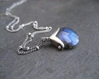 Labradorite necklace, faceted labradorite, pendant necklace, labradorite pendant, blue flash gemstone, silver necklace, dotted pendant
