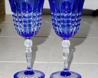 """2 D'ARQUES PAVANE WINE Cobalt Blue Box Cut to Clear Cased Glass Two Glasses Goblets 7"""" Crystal Stems France Mint Condition"""