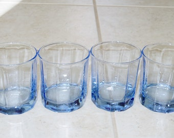 """4 ESSEX LIGHT BLUE Anchor Hocking Double Old Fashioned Rocks Set Glasses Water 10 Oz 3 5/8"""" High Heavy Crystal Tumblers Excellent Condition"""