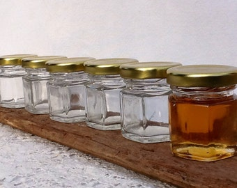 20 Empty 1.5 oz Honey Jars Honey Favors Baptism Favors Honey Jars Hexagon Jars Six Sided Jars Honey Bottles Glass Honey Jars