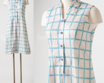 Mod Dress, Vintage Dress, 60s Dress, Vintage Blue Dress, Shift Dress, Mad Men dress - S/M