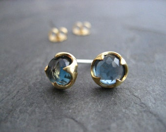 London blue topaz, 14k gold studs, rose cut, genuine gemstone,  thorn setting, blue studs, AAA grade