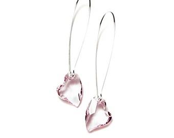 Rosaline Swarovski Crystal Devoted 2 U Heart Earrings, Pink Heart Earrings, Long Silver Earrings, Romantic Rose Crystal Jewelry For Women