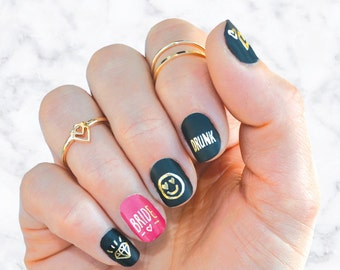 Bachelorette party tattoos, Fun bachelorette idea, Gold nail decals, Bach tattoo, Bachelorette favor, Gold tattoo