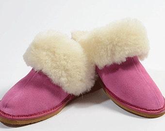 Pink sheepskin slippers