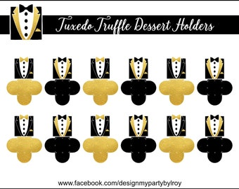 TUXEDO CANDY HOLDERS, Tuxedo Party Favors, Bow Tie Party Favors, Bow Tie Candy Holder, Black and White Party Printable, Forminhas, Caixas.