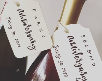 Anniversary Wine Bottle Tags [one tag] * Wedding, Bride, Bridal Shower, Bridesmaid, MOH, Calligraphy