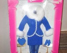Vintage BARBIE FASHION AVENUE Collection - 1996 Royal Blue Jacket White Fur Trimmed, Skirt, Heart Purse, Shoes, Nylons - Mattel