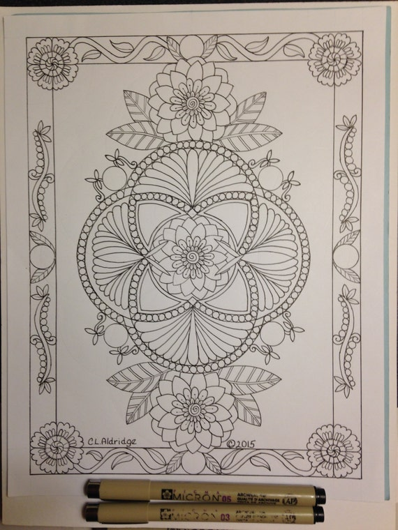 Botanical Art Coloring Book : Botanical Ornamental 2 Coloring Page