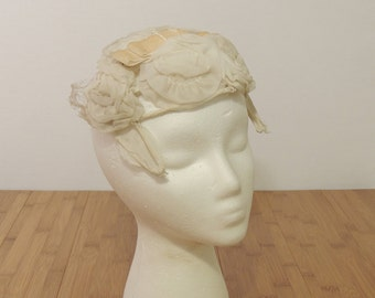 Vintage Cream Wedding Topper Hat with Floral brim and bow