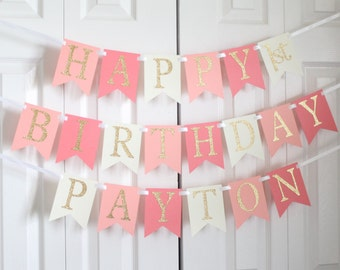 Gold, Peach, Coral, Ivory Happy Birthday Banner/ Girl Birthday/ Princess Party/ Party Decorations/ Custom Name/ Personalized Banner