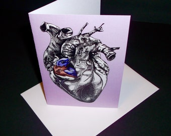 There's a Bird in My Heart Blank Note Card, Original Art