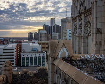 Detroit Skyline From Roof of Abandoned Building