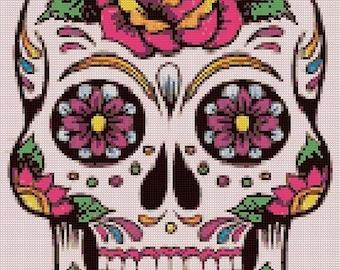 ON SALE Sugar Skull - 138 x 196 stitches - Cross Stitch Pattern Pdf - INSTANT Download - B886