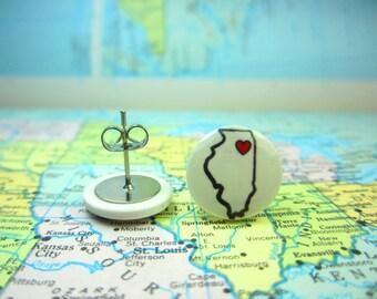 Illinois Earrings, Illinois Clip On Earrings, Illinois Jewelry, State Jewelry, Map Earrings. Home Jewelry, Illinois Necklace