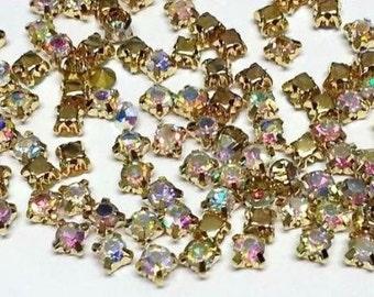 100 X 4.3mm SS18 Sew on Ab Clear Gold Set Glass Crystal Diamante Rhinestone Craft