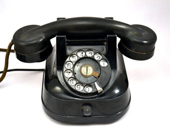 Vintage black bakelite telephone / rotary dial phone Automatic Electric SA Antwerp Belgium