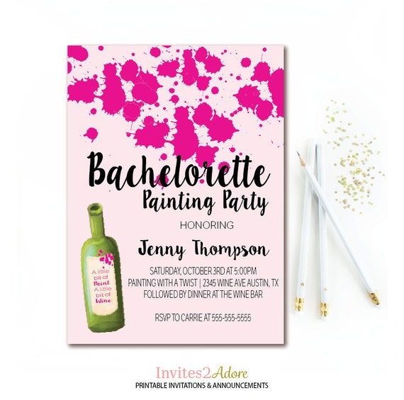 wine & paint party invitation bachelorette painting party, Party invitations