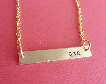 Gifts for Her Personalized Jewelry Bar Necklace Custom Jewelry Brass Bar Necklace