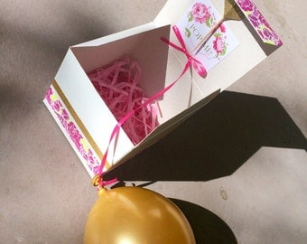 Pink & Gold Floral Balloon Pop Kit for Bridesmaid/Maid of Honor Proposal Gift