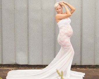 Lace Maternity Gown Photography Long Maternity Dress Maternity Wedding Baby  Shower Dress Maternity Photo Shoot Dress