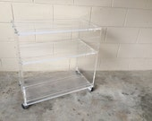 Vintage lucite rolling bar cart - retro - Hollywood Regency