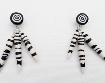 Black and White Dangling Spike Stud Earrings