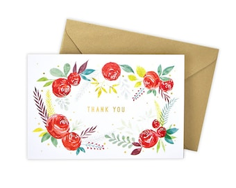 Thank You (Red Floral) Greeting Card