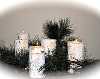 Shabby Chic Rustic Birch Candles Set Of 5