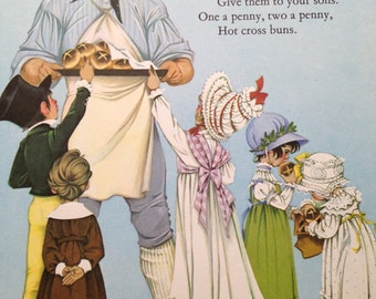 Hot Cross Buns - Nursery Rhymes from vintage book 1970's - handmounted - Free UK Shipping
