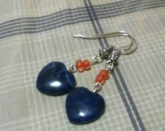 Lapis Lazuli Heart Earrings