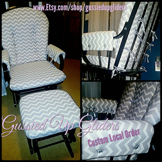 custom glider cushion set and arm rests custom by gussiedupgliders. Black Bedroom Furniture Sets. Home Design Ideas