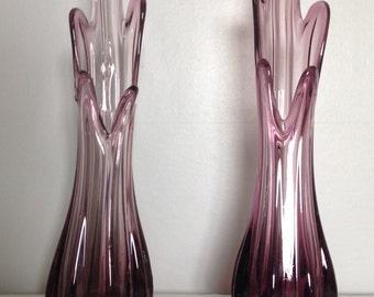 Pair of Mid Century Art Glass Vases.