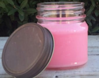 Hand poured candle, Soy Candle Cherry Blossom Soy Candle,  Hand poured soy candle, 8 oz Mason Jar Soy Candle